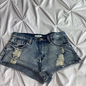 Blue jean, ripped, Booty shorts